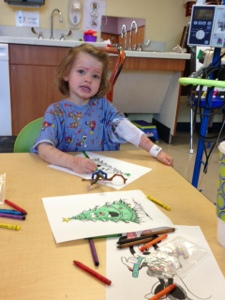 Coloring Christmas trees in the hospital.