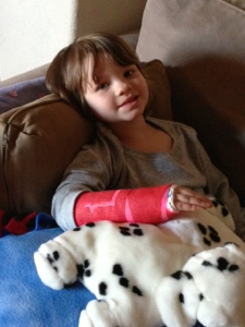 Lenox in her pink and red cast - she picked this for Valentines Day.