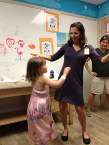 Lenox and her oncologist dancing to Katy Perry's Firework.