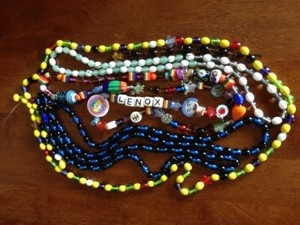 All of her strands of beads all together.